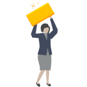 Cartoon image of a woman holding a gold bullion