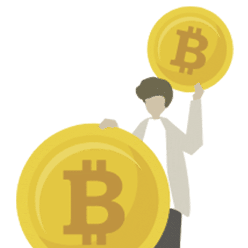 Cartoon image of a person holding bitcoin