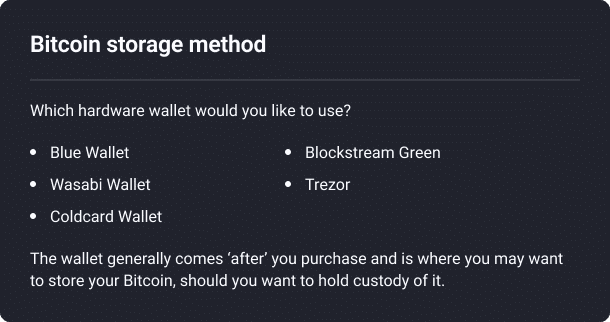 Hardware wallets including blue wallet, wasabi wallet, coldcard wallet, blockstream green, trezor