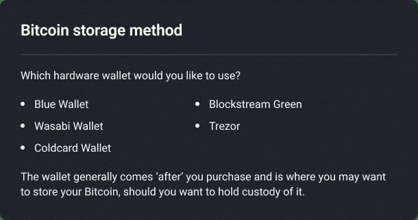 Hardware wallets including blue wallet, wasabi wallet, coldcard wallet, blockstream green, trezor